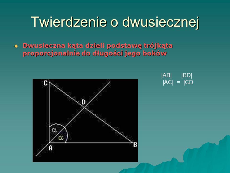 Twierdzenie o dwusiecznej Dwusieczna kąta dzieli podstawę trójkąta proporcjonalnie do długości jego boków Dwusieczna kąta dzieli podstawę trójkąta proporcjonalnie do długości jego boków |AB| |BD| |AC| = |CD