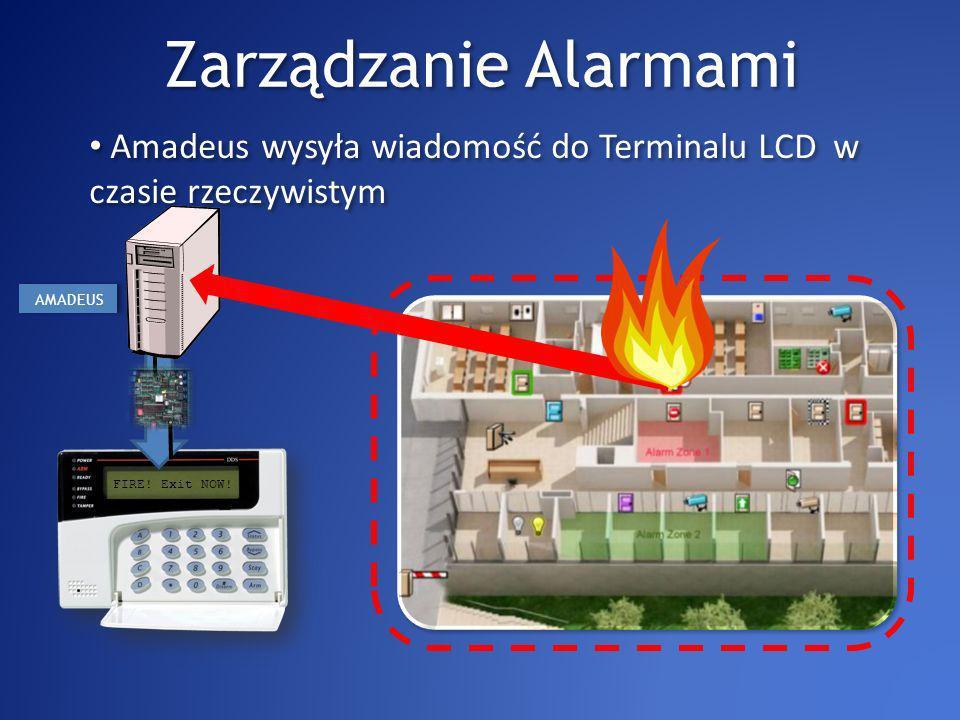 Zarządzanie Alarmami Amadeus wysyła wiadomość do Terminalu LCD w czasie rzeczywistym FIRE.
