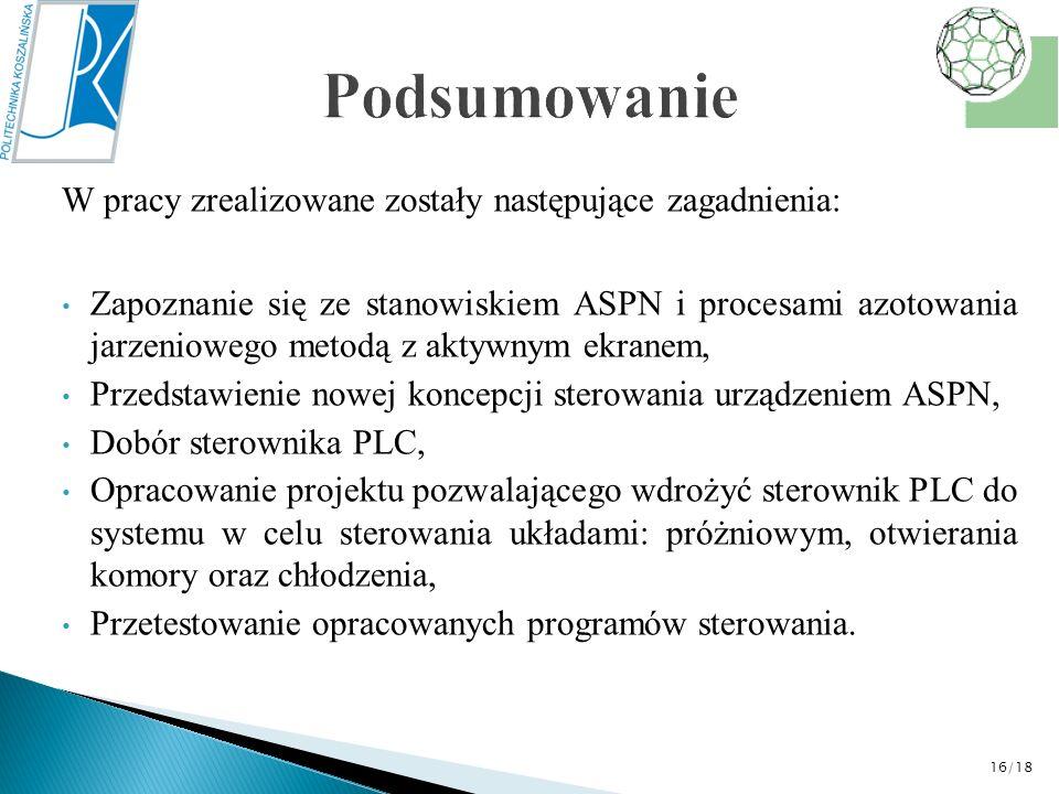 W pracy zrealizowane zostały następujące zagadnienia: Zapoznanie się ze stanowiskiem ASPN i procesami azotowania jarzeniowego metodą z aktywnym ekrane