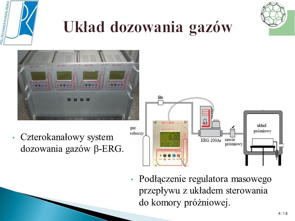 Czterokanałowy system dozowania gazów -ERG. Podłączenie regulatora masowego przepływu z układem sterowania do komory próżniowej. 4/18