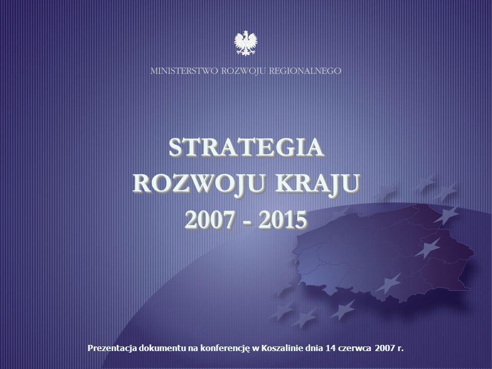 1 STRATEGIA ROZWOJU KRAJU 2007 - 2015 Prezentacja dokumentu na konferencję w Koszalinie dnia 14 czerwca 2007 r.