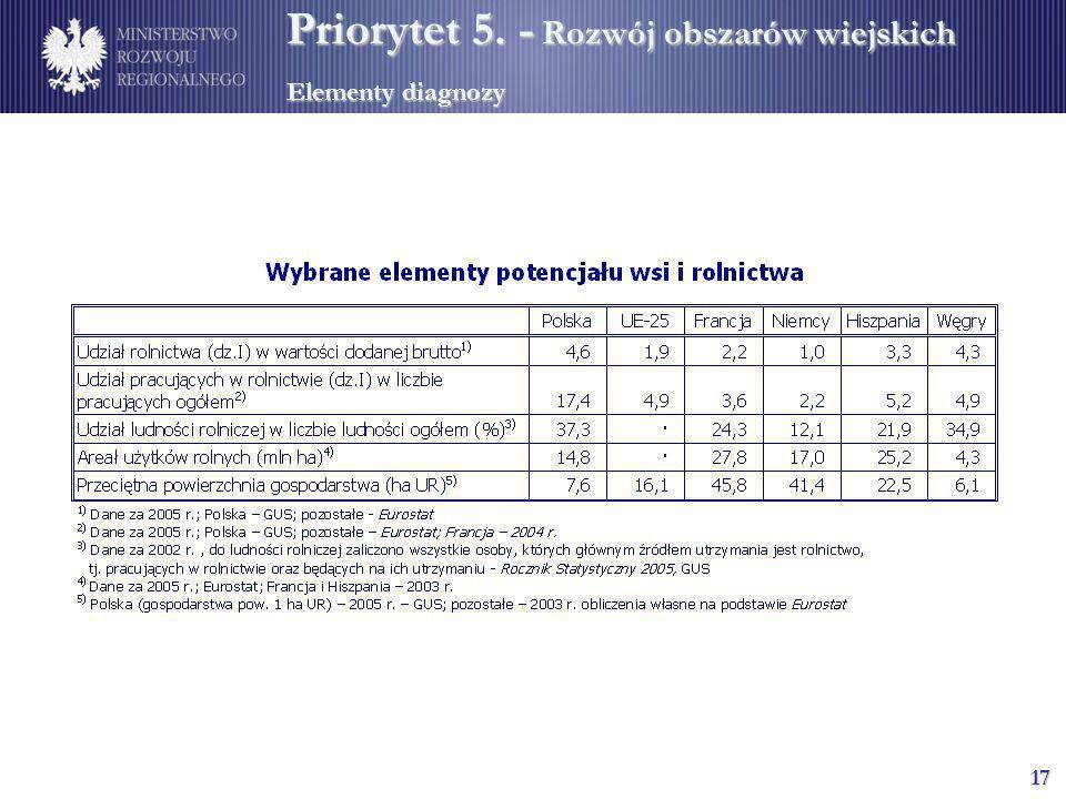 17 Priorytet 5. - Rozwój obszarów wiejskich Elementy diagnozy