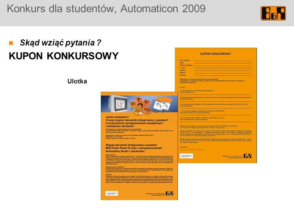 Konkurs dla studentów, Automaticon 2009 Skąd wziąć pytania ? KUPON KONKURSOWY Ulotka