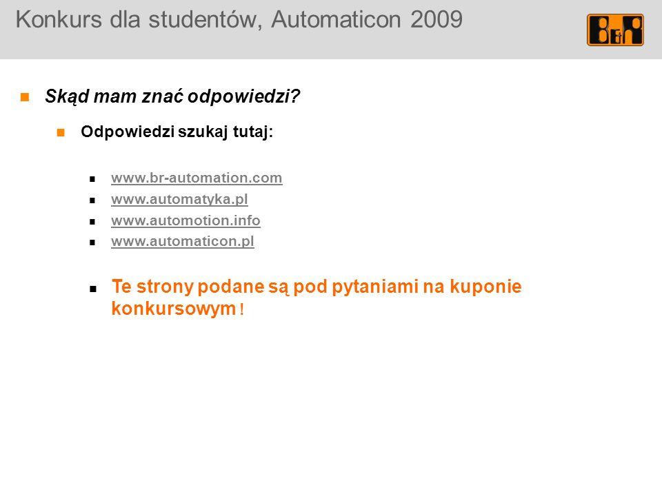 Konkurs dla studentów, Automaticon 2009 Skąd mam znać odpowiedzi.