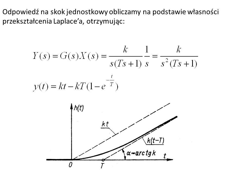 Odpowiedź na skok jednostkowy obliczamy na podstawie własności przekształcenia Laplacea, otrzymując: