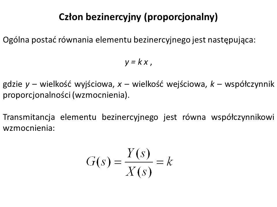 Człon bezinercyjny (proporcjonalny) Ogólna postać równania elementu bezinercyjnego jest następująca: y = k x, gdzie y – wielkość wyjściowa, x – wielko