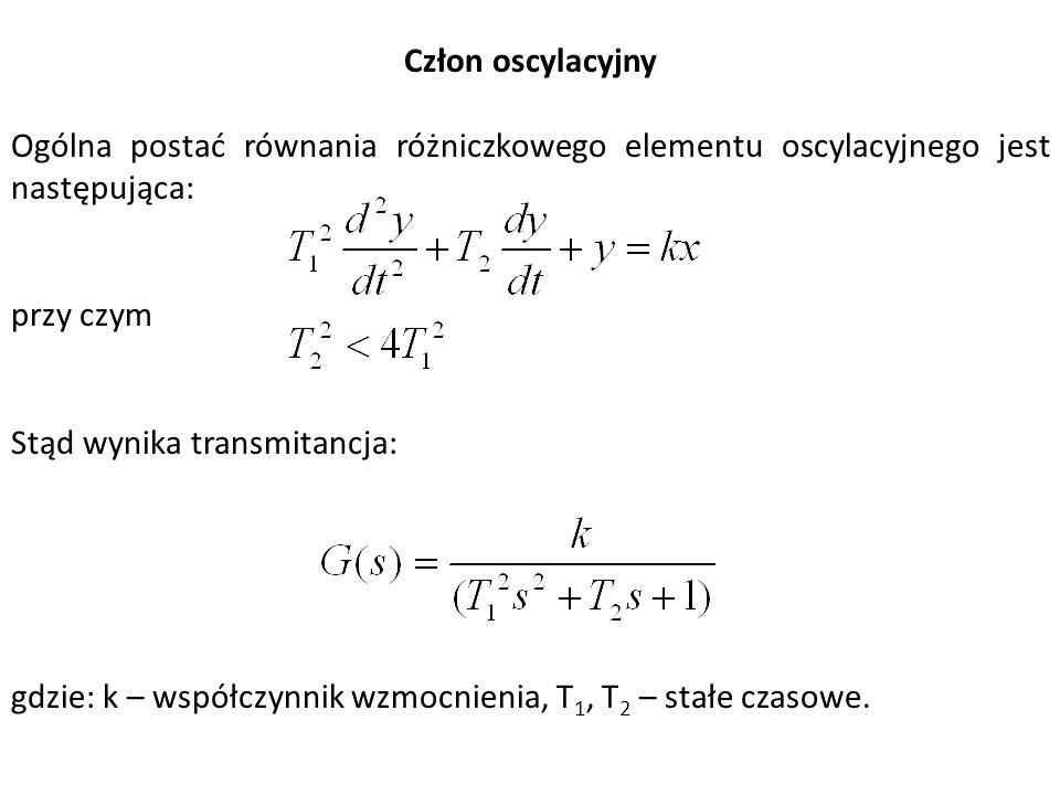 Człon oscylacyjny Ogólna postać równania różniczkowego elementu oscylacyjnego jest następująca: przy czym Stąd wynika transmitancja: gdzie: k – współc