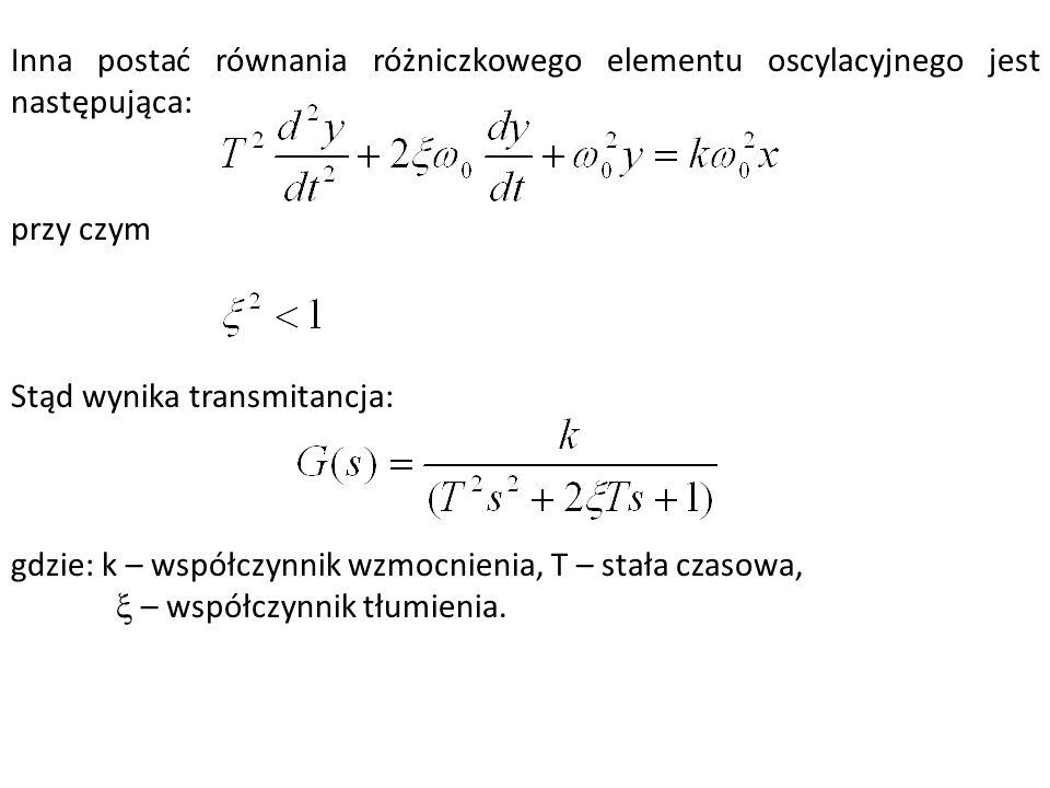 Inna postać równania różniczkowego elementu oscylacyjnego jest następująca: przy czym Stąd wynika transmitancja: gdzie: k – współczynnik wzmocnienia,