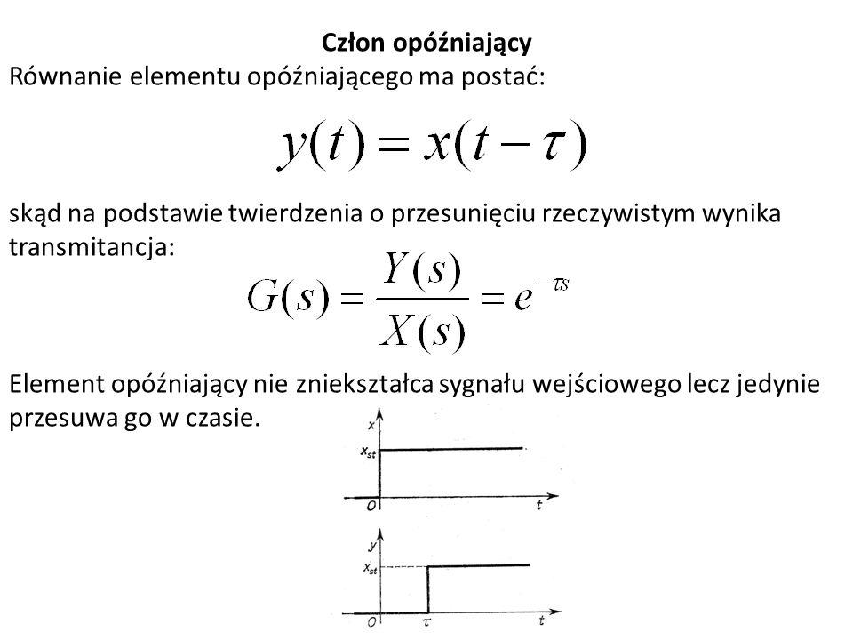 Człon opóźniający Równanie elementu opóźniającego ma postać: skąd na podstawie twierdzenia o przesunięciu rzeczywistym wynika transmitancja: Element o