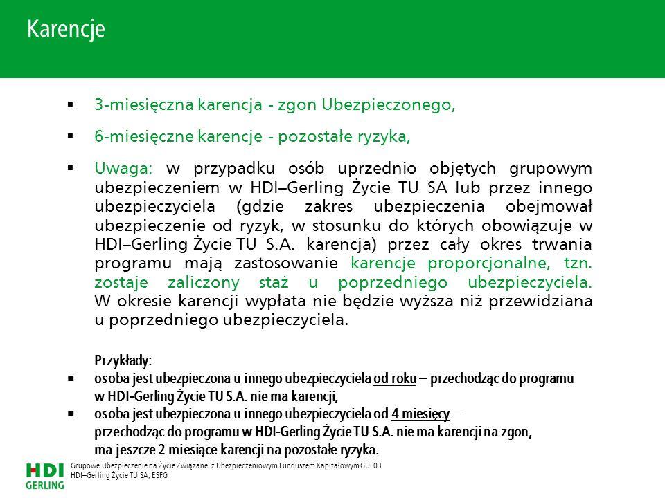 HDI–Gerling Życie TU SA, ESFG Grupowe Ubezpieczenie na Życie Związane z Ubezpieczeniowym Funduszem Kapitałowym GUF03 3-miesięczna karencja - zgon Ubez