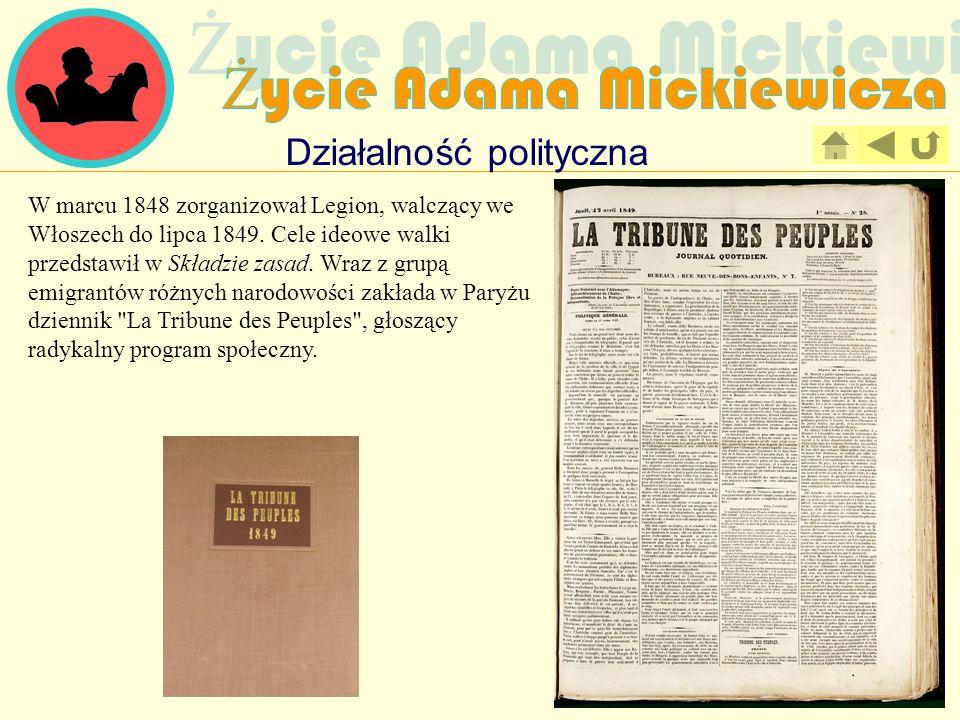 Działalność polityczna W marcu 1848 zorganizował Legion, walczący we Włoszech do lipca 1849. Cele ideowe walki przedstawił w Składzie zasad. Wraz z gr