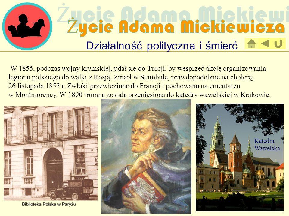 Działalność polityczna i śmierć W 1855, podczas wojny krymskiej, udał się do Turcji, by wesprzeć akcję organizowania legionu polskiego do walki z Rosj