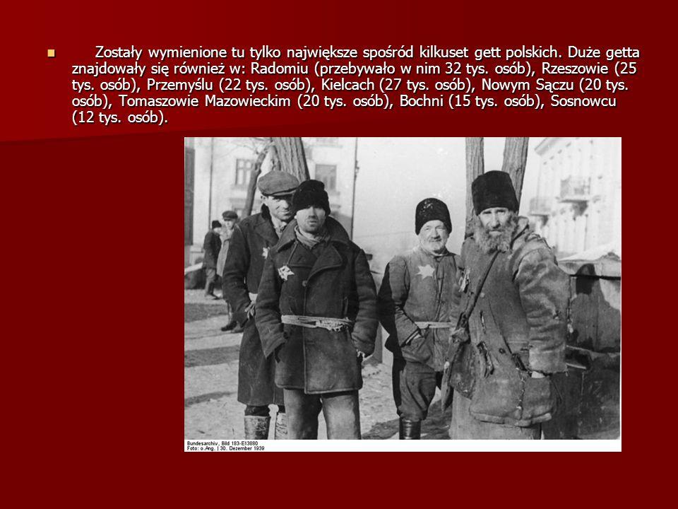 Zostały wymienione tu tylko największe spośród kilkuset gett polskich. Duże getta znajdowały się również w: Radomiu (przebywało w nim 32 tys. osób), R