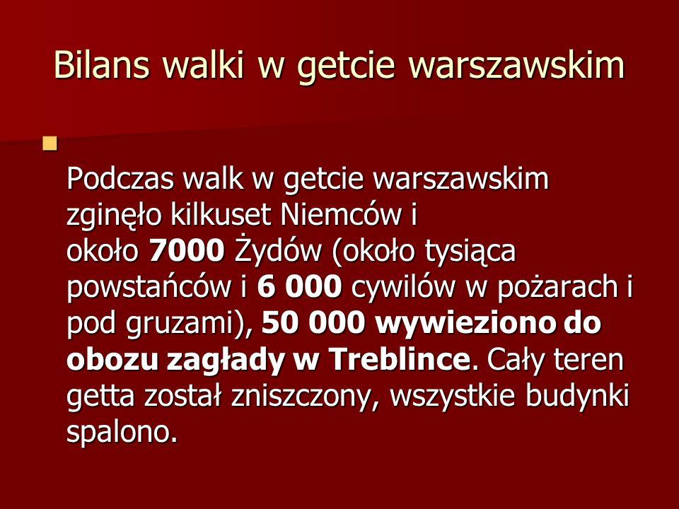 Bilans walki w getcie warszawskim Podczas walk w getcie warszawskim zginęło kilkuset Niemców i około 7000 Żydów (około tysiąca powstańców i 6 000 cywilów w pożarach i pod gruzami), 50 000 wywieziono do obozu zagłady w Treblince.