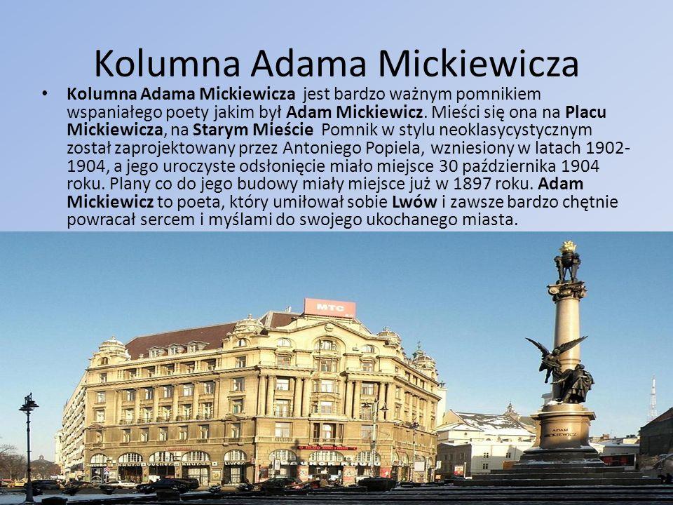 Kolumna Adama Mickiewicza Kolumna Adama Mickiewicza jest bardzo ważnym pomnikiem wspaniałego poety jakim był Adam Mickiewicz. Mieści się ona na Placu