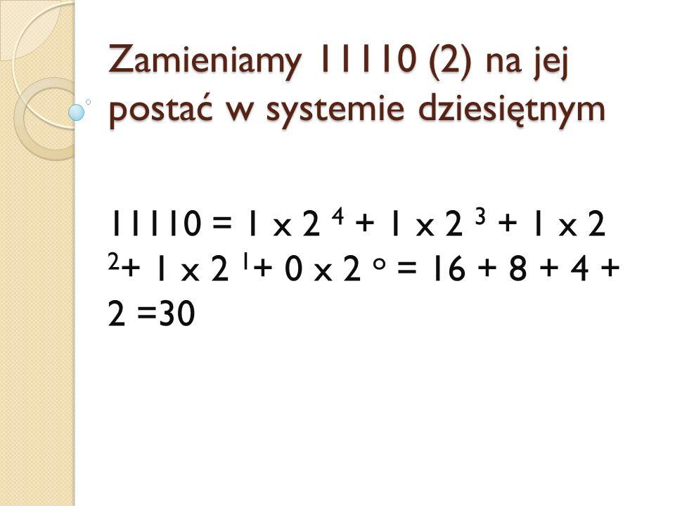 Zamieniamy 11110 (2) na jej postać w systemie dziesiętnym 11110 = 1 x 2 4 + 1 x 2 3 + 1 x 2 2 + 1 x 2 1 + 0 x 2 o = 16 + 8 + 4 + 2 =30