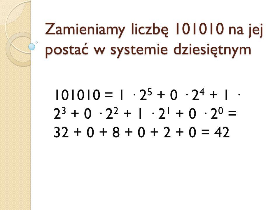 Zamieniamy liczbę 101010 na jej postać w systemie dziesiętnym 101010 = 1 · 2 5 + 0 · 2 4 + 1 · 2 3 + 0 · 2 2 + 1 · 2 1 + 0 · 2 0 = 32 + 0 + 8 + 0 + 2