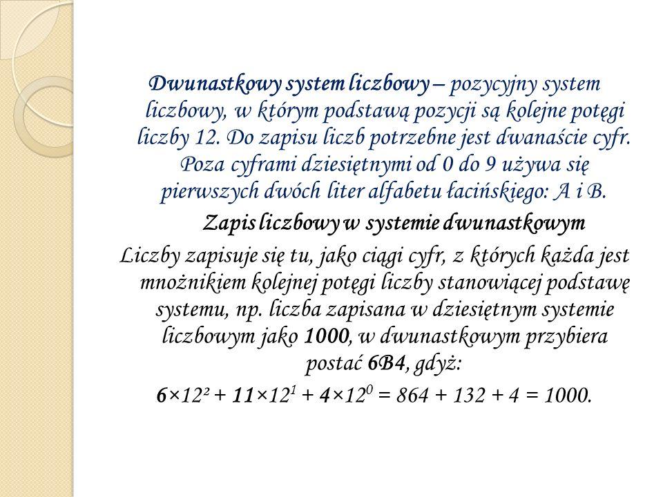 Dwunastkowy system liczbowy – pozycyjny system liczbowy, w którym podstawą pozycji są kolejne potęgi liczby 12. Do zapisu liczb potrzebne jest dwanaśc