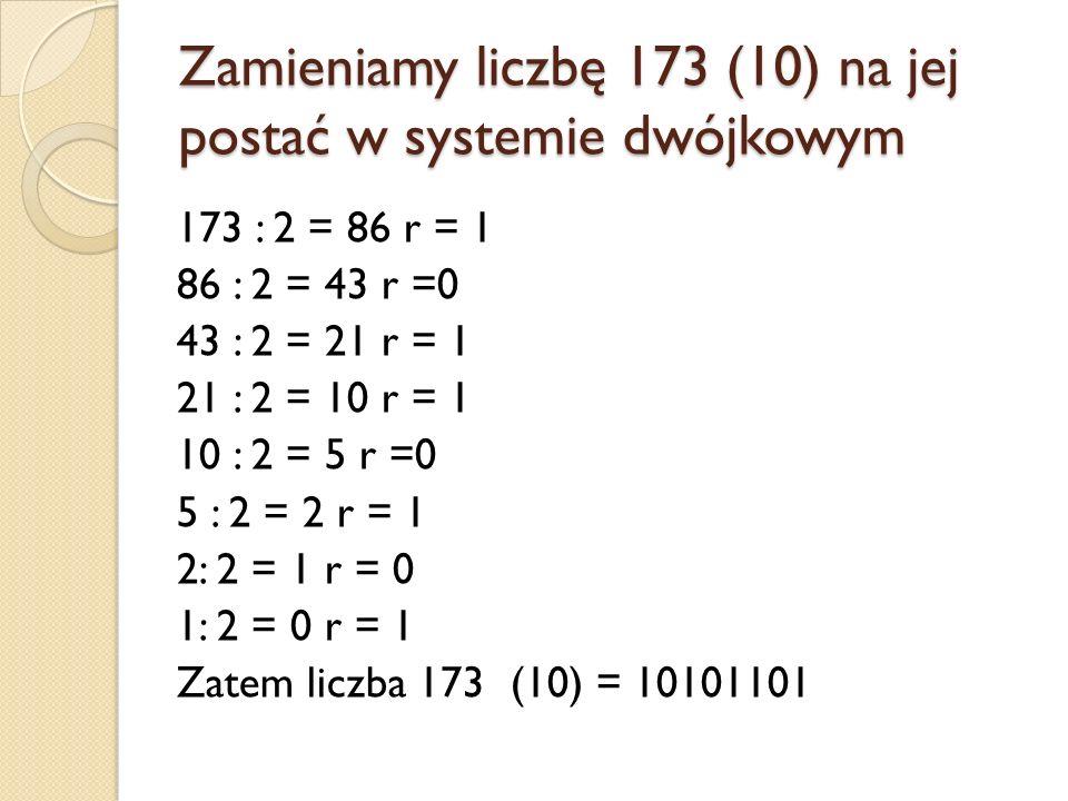 Zamieniamy liczbę 173 (10) na jej postać w systemie dwójkowym 173 : 2 = 86 r = 1 86 : 2 = 43 r =0 43 : 2 = 21 r = 1 21 : 2 = 10 r = 1 10 : 2 = 5 r =0