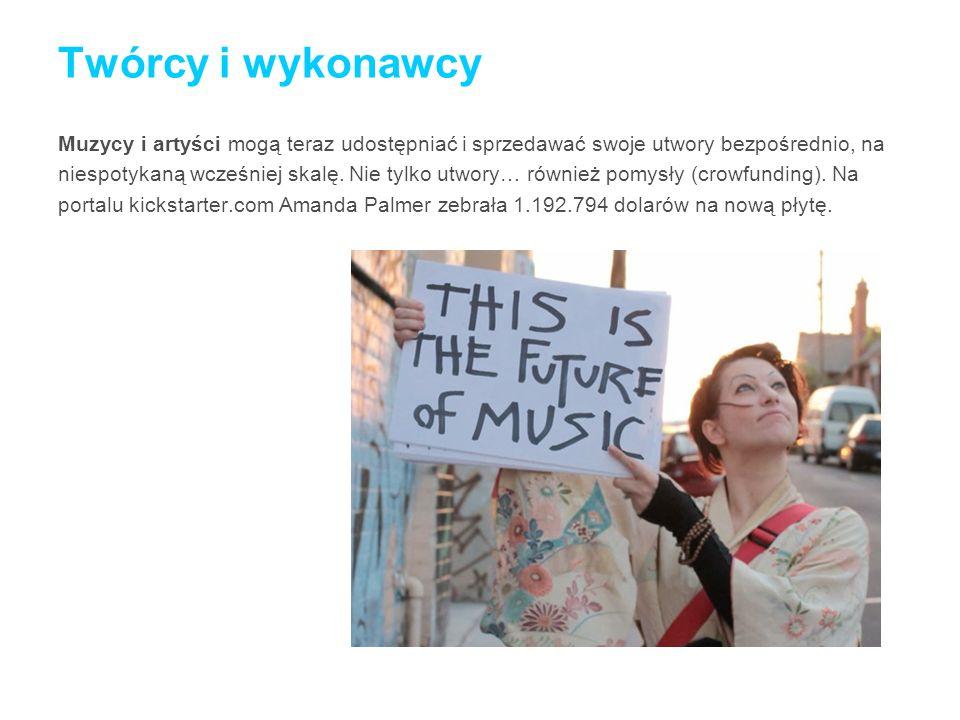 Twórcy i wykonawcy Muzycy i artyści mogą teraz udostępniać i sprzedawać swoje utwory bezpośrednio, na niespotykaną wcześniej skalę. Nie tylko utwory…
