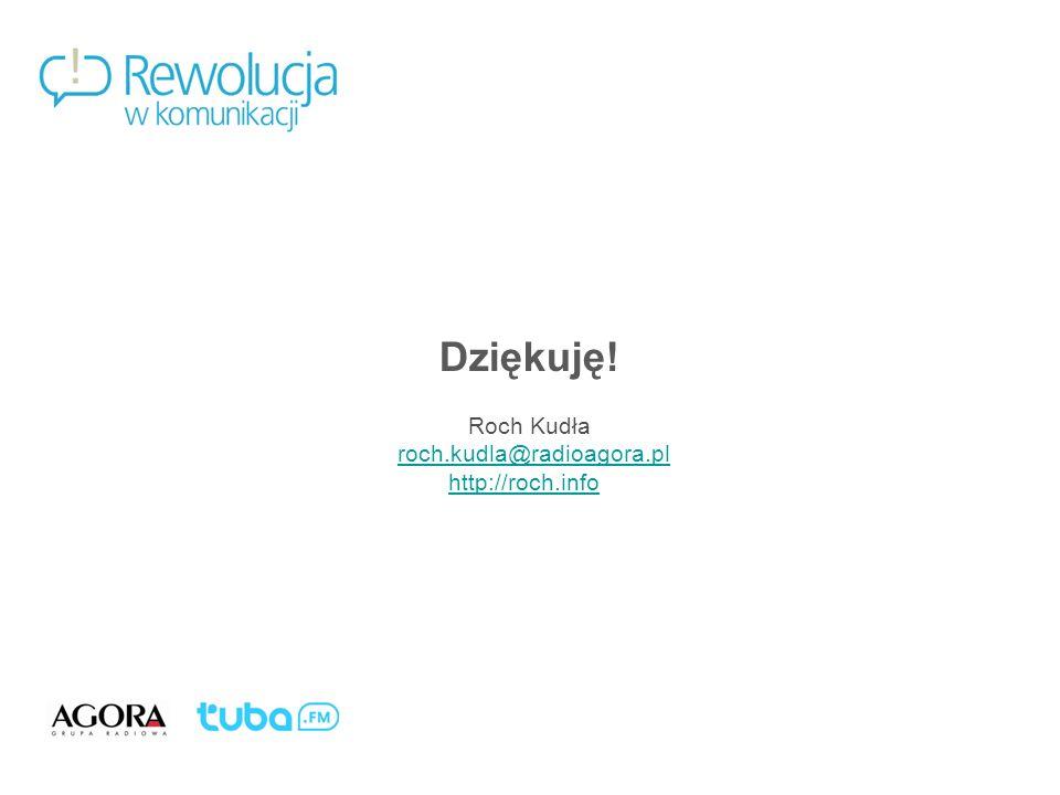 Mobile Thirst. Komu jest potrzebna mobilna muzyka?46 Dziękuję! Roch Kudła roch.kudla@radioagora.pl http://roch.info