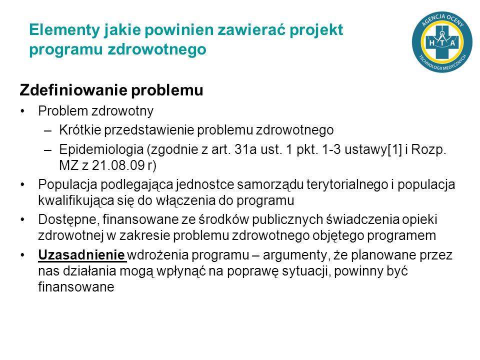 Elementy jakie powinien zawierać projekt programu zdrowotnego Zdefiniowanie problemu Problem zdrowotny –Krótkie przedstawienie problemu zdrowotnego –E