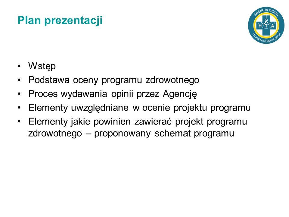 Plan prezentacji Wstęp Podstawa oceny programu zdrowotnego Proces wydawania opinii przez Agencję Elementy uwzględniane w ocenie projektu programu Elem
