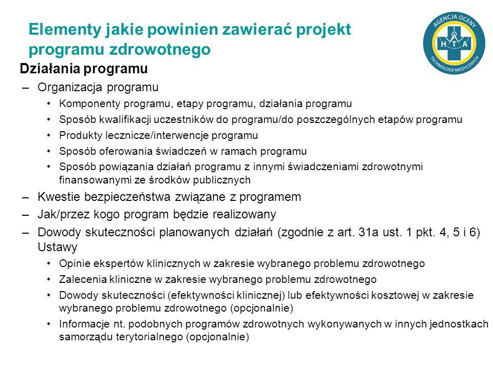 Działania programu –Organizacja programu Komponenty programu, etapy programu, działania programu Sposób kwalifikacji uczestników do programu/do poszcz