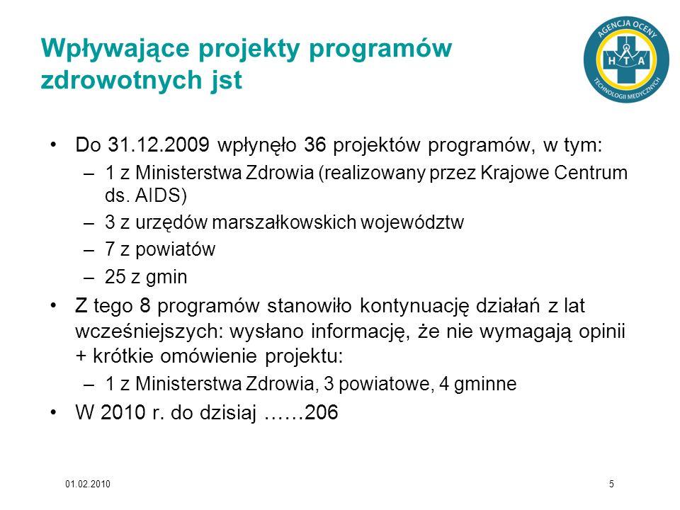 Wpływające projekty programów zdrowotnych jst Do 31.12.2009 wpłynęło 36 projektów programów, w tym: –1 z Ministerstwa Zdrowia (realizowany przez Krajo