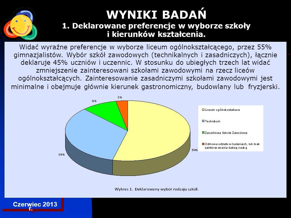 EGZAMINACYJNA CENTRALNA KOMISJA Czerwiec 2013 r. WYNIKI BADAŃ 1.