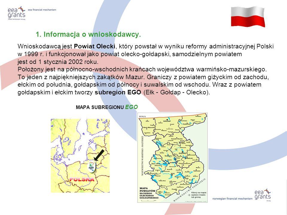 1. Informacja o wnioskodawcy. Wnioskodawcą jest Powiat Olecki, który powstał w wyniku reformy administracyjnej Polski w 1999 r. i funkcjonował jako po