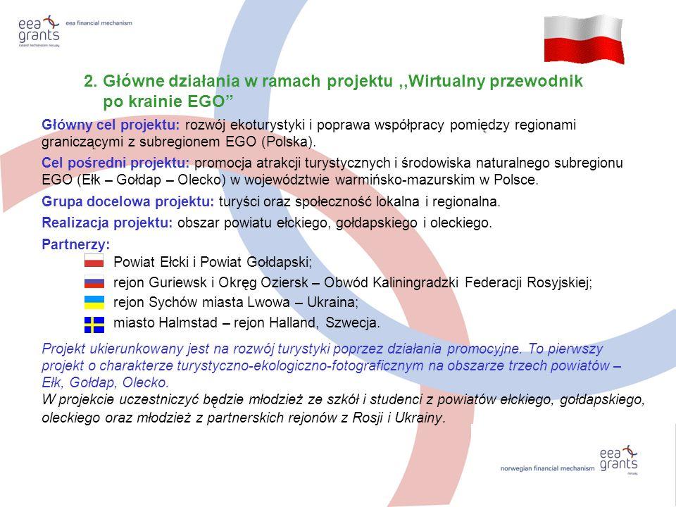 2. Główne działania w ramach projektu,,Wirtualny przewodnik po krainie EGO Główny cel projektu: rozwój ekoturystyki i poprawa współpracy pomiędzy regi