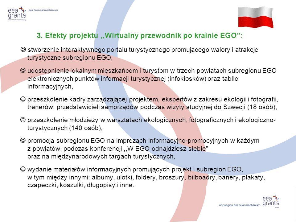 3. Efekty projektu,,Wirtualny przewodnik po krainie EGO: stworzenie interaktywnego portalu turystycznego promującego walory i atrakcje turystyczne sub