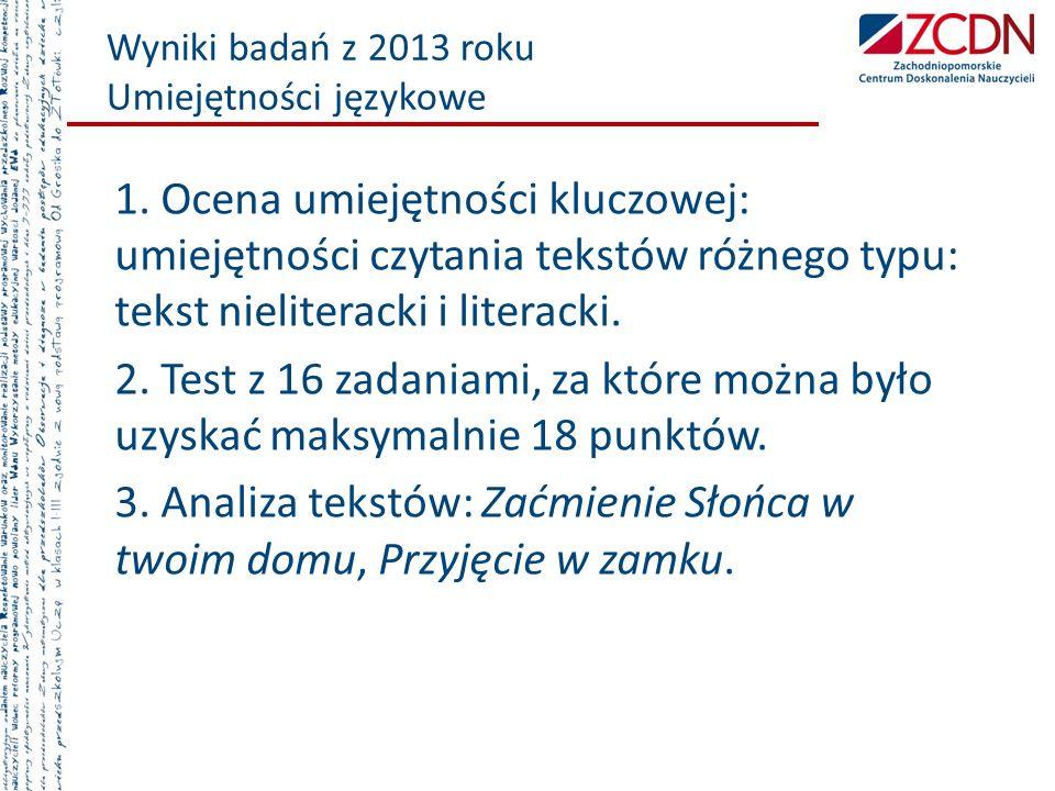Wyniki badań z 2013 roku Umiejętności językowe 1. Ocena umiejętności kluczowej: umiejętności czytania tekstów różnego typu: tekst nieliteracki i liter