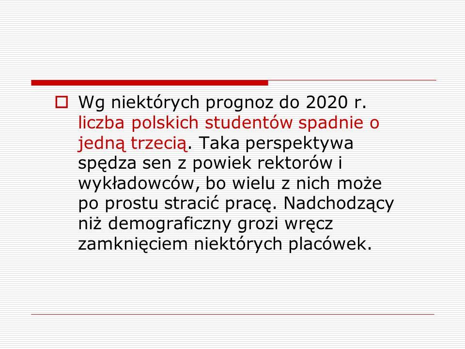 Wg niektórych prognoz do 2020 r. liczba polskich studentów spadnie o jedną trzecią.