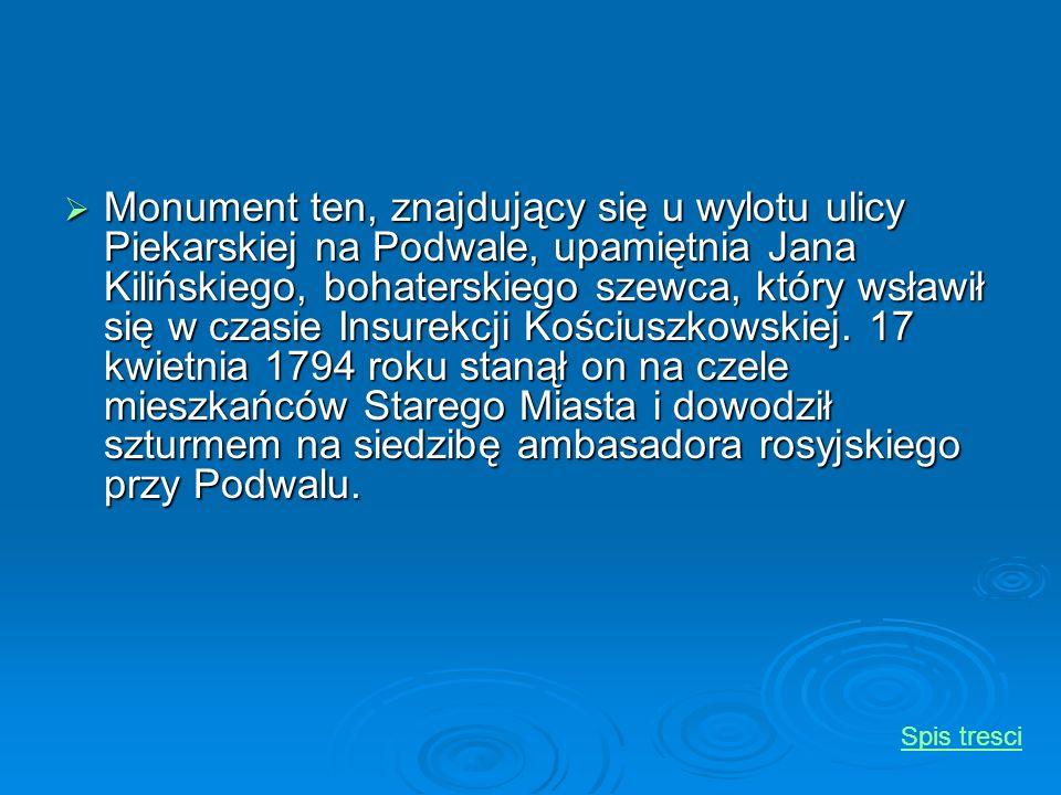 Monument ten, znajdujący się u wylotu ulicy Piekarskiej na Podwale, upamiętnia Jana Kilińskiego, bohaterskiego szewca, który wsławił się w czasie Insu