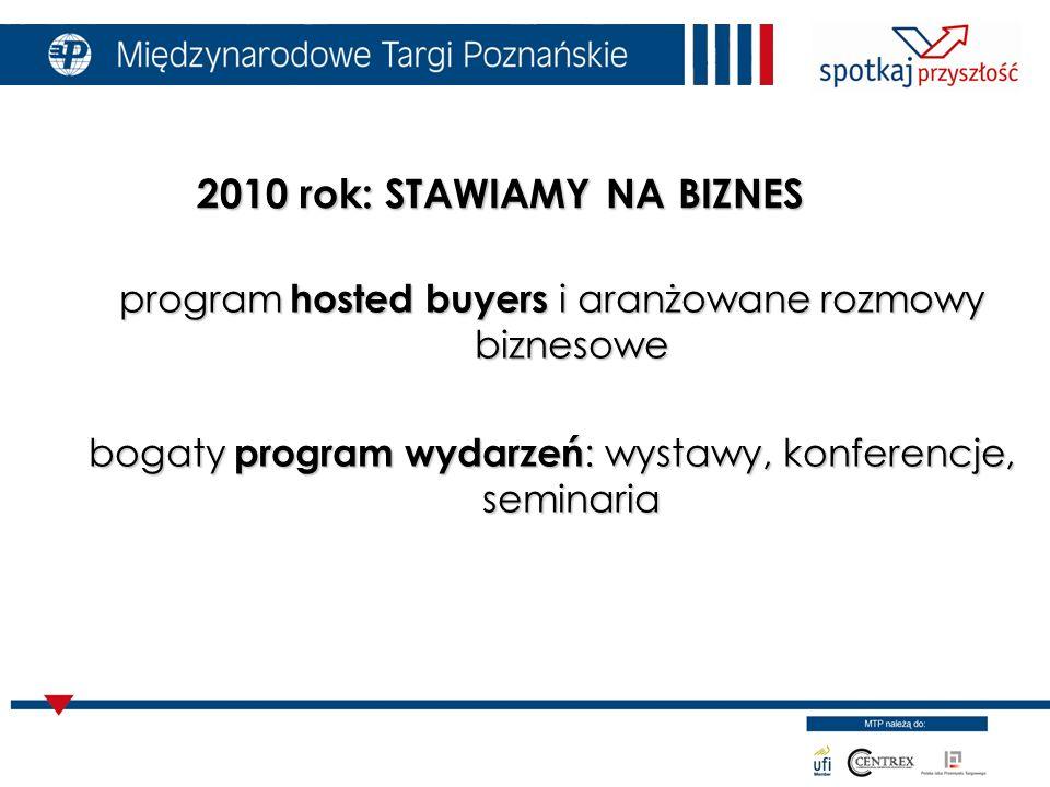 program hosted buyers i aranżowane rozmowy biznesowe bogaty program wydarzeń : wystawy, konferencje, seminaria 2010 rok: STAWIAMY NA BIZNES