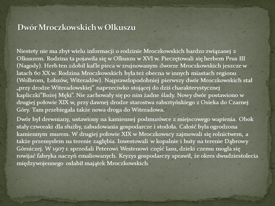 Niestety nie ma zbyt wielu informacji o rodzinie Mroczkowskich bardzo związanej z Olkuszem. Rodzina ta pojawiła się w Olkuszu w XVI w. Pieczętowali si