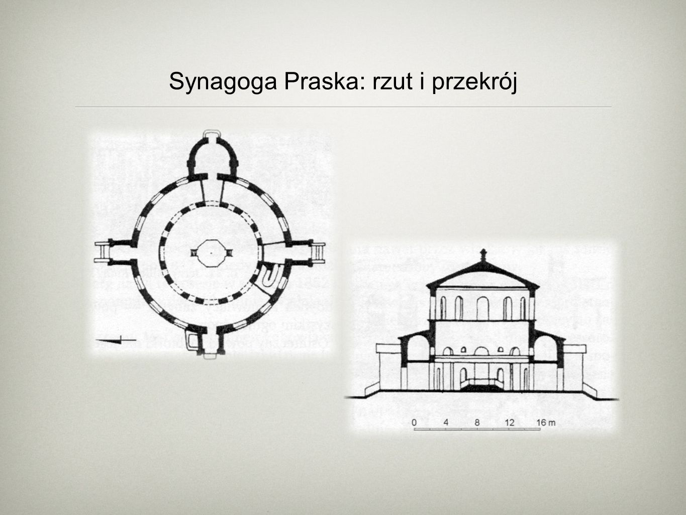 Synagoga Praska: rzut i przekrój