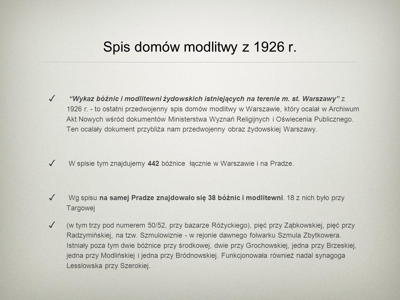 Spis domów modlitwy z 1926 r. Wykaz bóżnic i modlitewni żydowskich istniejących na terenie m. st. Warszawy z 1926 r. - to ostatni przedwojenny spis do