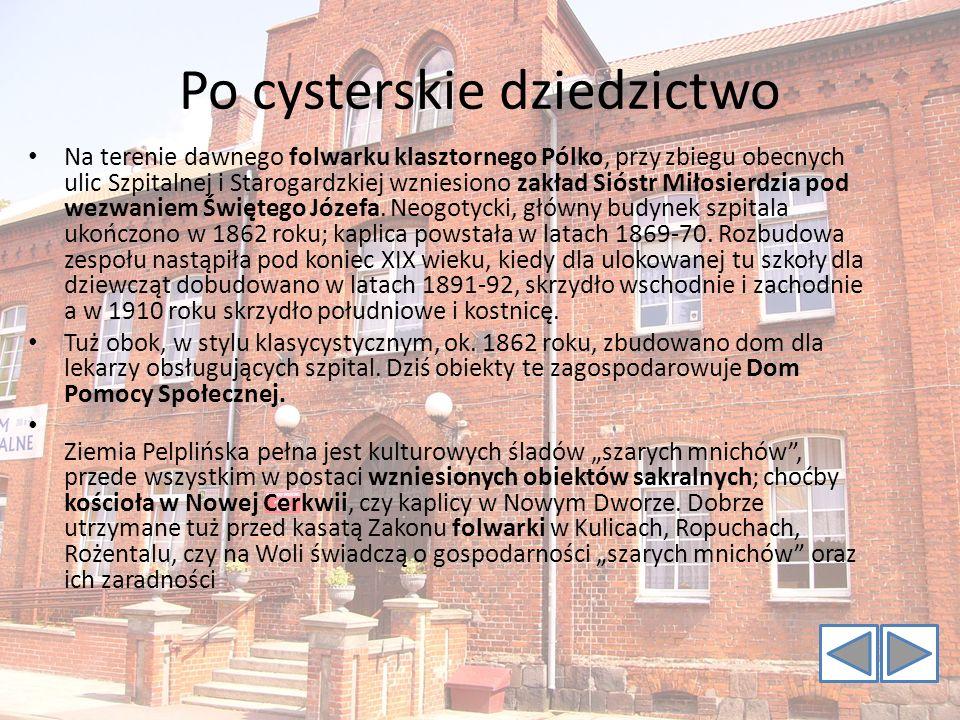 Po cysterskie dziedzictwo Na terenie dawnego folwarku klasztornego Pólko, przy zbiegu obecnych ulic Szpitalnej i Starogardzkiej wzniesiono zakład Siós