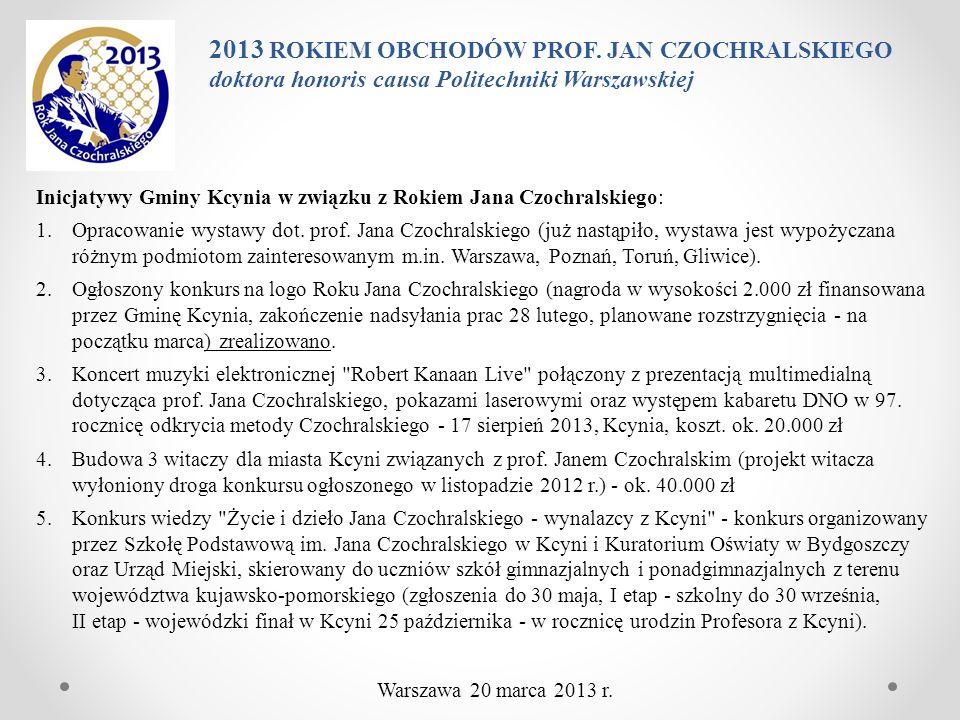 Inicjatywy Gminy Kcynia w związku z Rokiem Jana Czochralskiego: 1.Opracowanie wystawy dot. prof. Jana Czochralskiego (już nastąpiło, wystawa jest wypo