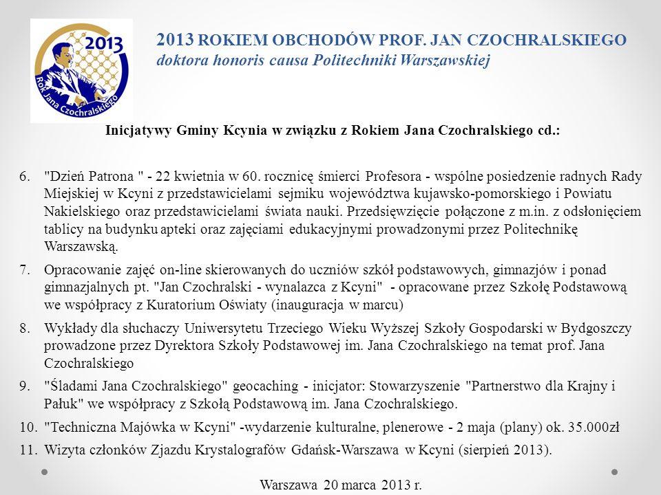 Inicjatywy Gminy Kcynia w związku z Rokiem Jana Czochralskiego cd.: 6.