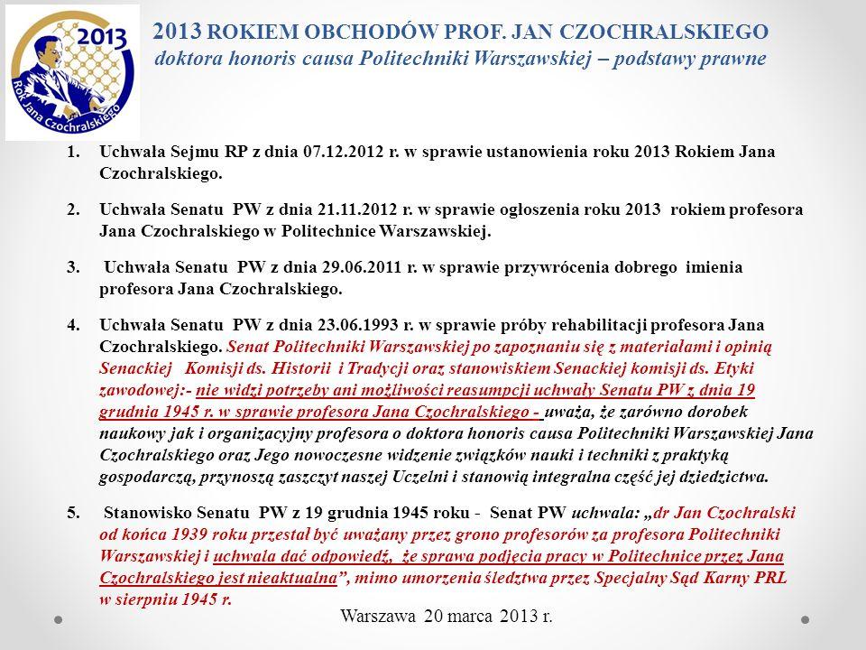 1.Uchwała Sejmu RP z dnia 07.12.2012 r. w sprawie ustanowienia roku 2013 Rokiem Jana Czochralskiego. 2.Uchwała Senatu PW z dnia 21.11.2012 r. w sprawi