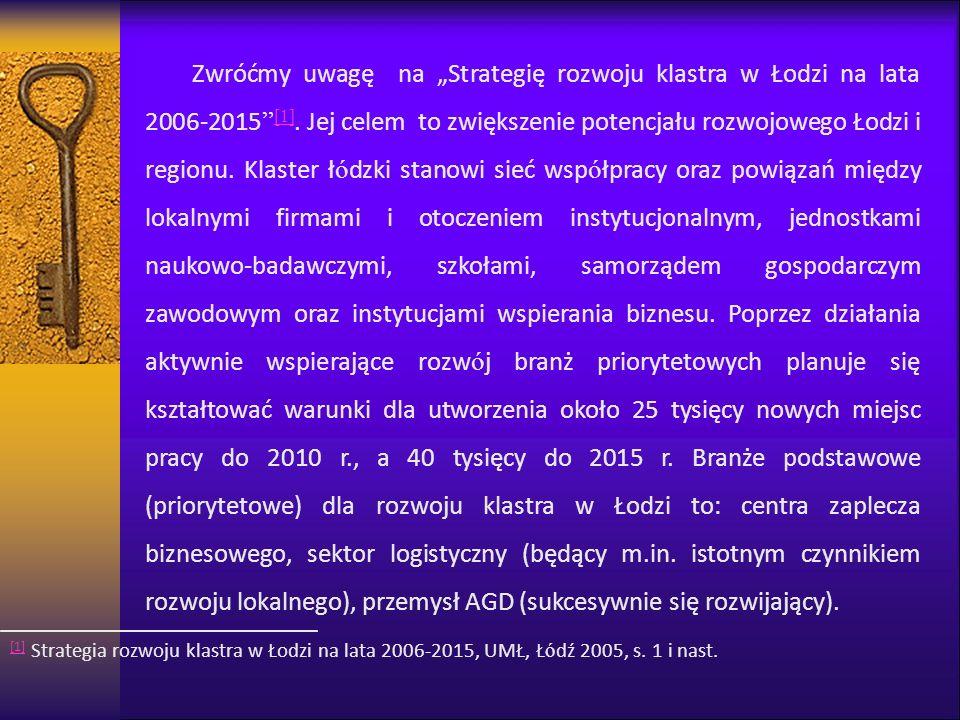 Zwróćmy uwagę na Strategię rozwoju klastra w Łodzi na lata 2006-2015 [1]. Jej celem to zwiększenie potencjału rozwojowego Łodzi i regionu. Klaster ł ó