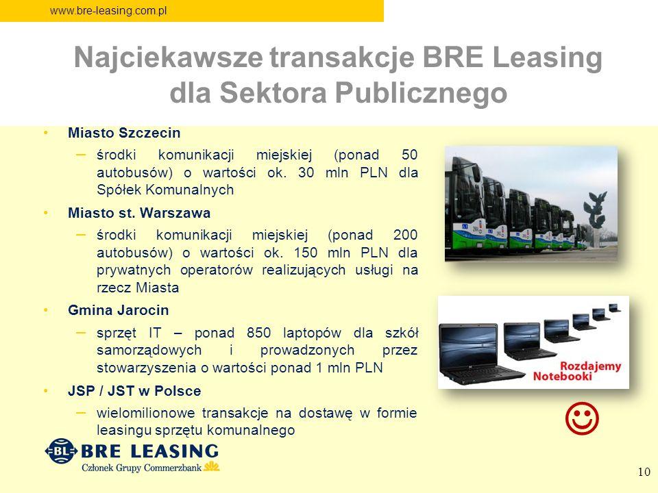 www.bre-leasing.com.pl 10 Miasto Szczecin – środki komunikacji miejskiej (ponad 50 autobusów) o wartości ok. 30 mln PLN dla Spółek Komunalnych Miasto