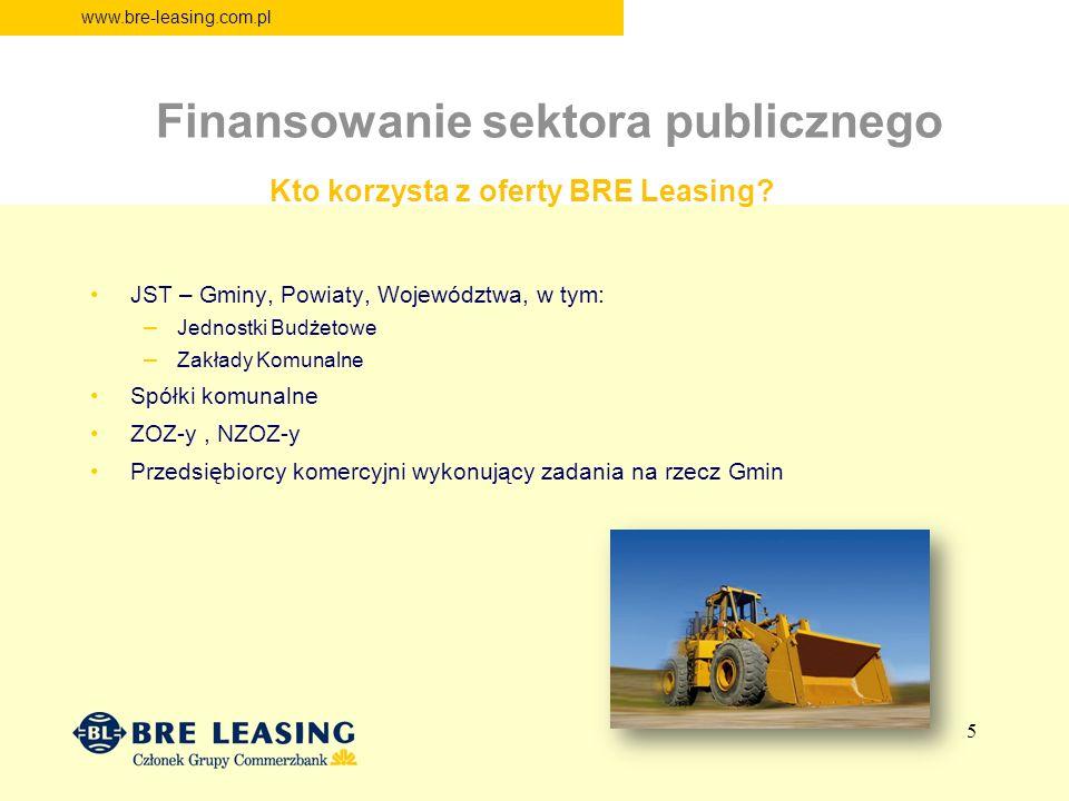 www.bre-leasing.com.pl Finansowanie sektora publicznego Kto korzysta z oferty BRE Leasing? JST – Gminy, Powiaty, Województwa, w tym: – Jednostki Budże