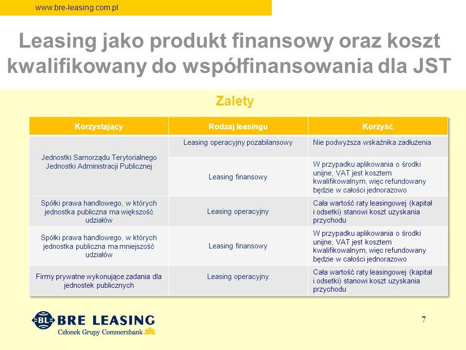 www.bre-leasing.com.pl Leasing jako produkt finansowy oraz koszt kwalifikowany do współfinansowania dla JST Zalety 7