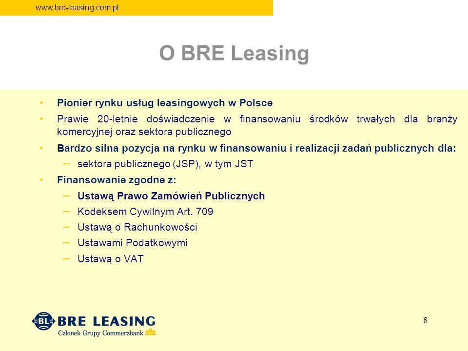 www.bre-leasing.com.pl O BRE Leasing Pionier rynku usług leasingowych w Polsce Prawie 20-letnie doświadczenie w finansowaniu środków trwałych dla branży komercyjnej oraz sektora publicznego Bardzo silna pozycja na rynku w finansowaniu i realizacji zadań publicznych dla: – sektora publicznego (JSP), w tym JST Finansowanie zgodne z: – Ustawą Prawo Zamówień Publicznych – Kodeksem Cywilnym Art.