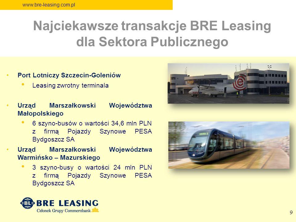 www.bre-leasing.com.pl Port Lotniczy Szczecin-Goleniów Leasing zwrotny terminala Urząd Marszałkowski Województwa Małopolskiego 6 szyno-busów o wartośc